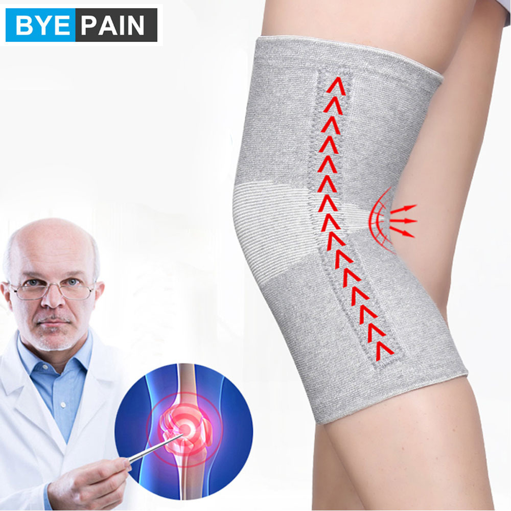 BYEPAIN 1Pair Warm Elastic Breathable Knee Support Brace Bamboo Fiber Health Care Knee Brace Spring Stay Knee Pads
