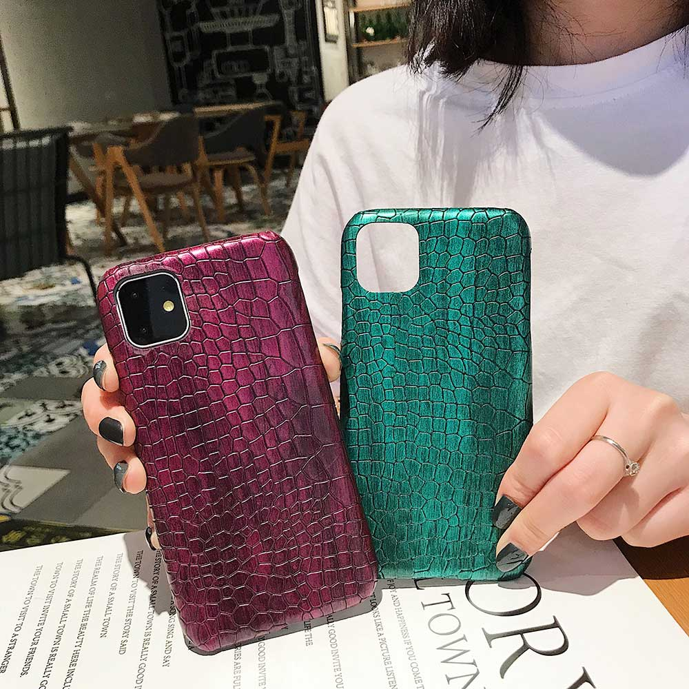 Fashion Cool Crocodile Snake Skin Cover Case With Hybrid Rubber Cape For iPhone Xs Max 8