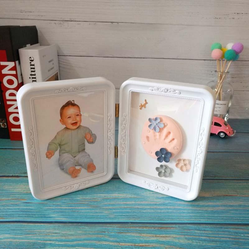 Newborn Baby Hand And Foot Print Mud Photo Frame Baby Souvenirs Footprint Keepsake Present Hand Casting Kit Growth Memorial