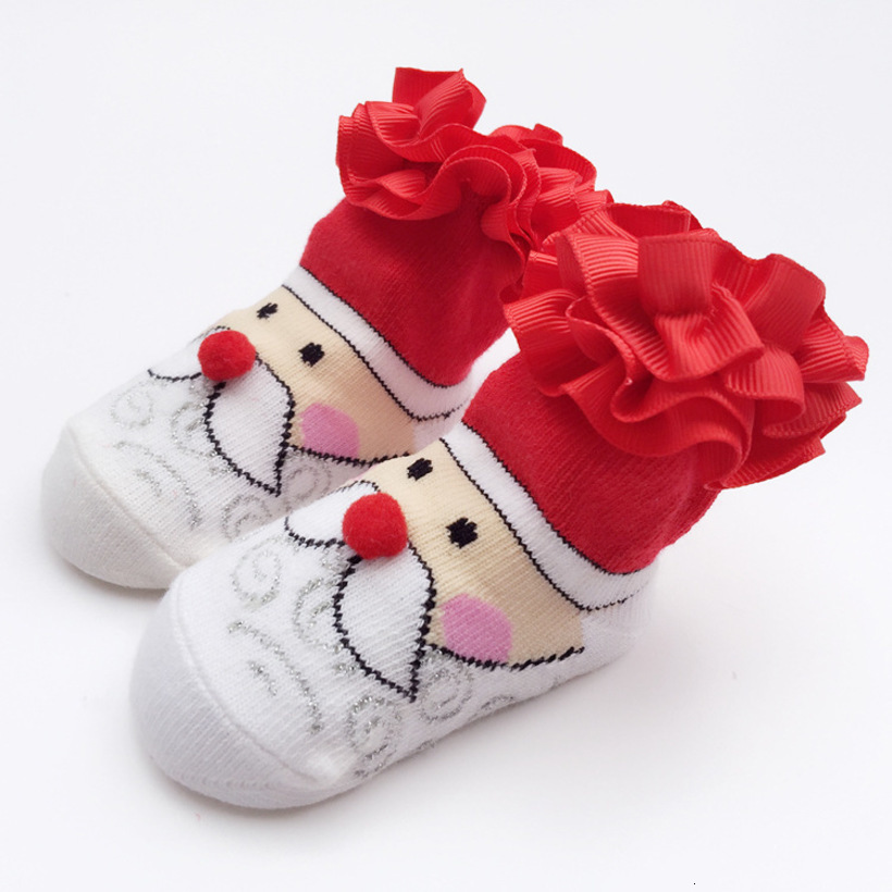 2019 New Lace Christmas Socks Winter Baby Socks Cotton Santa Baby Girl Sock Cute New BornSock Toddler Baby Clothes Meia Infantil
