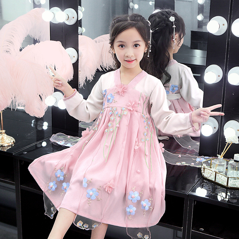 Girls Chinese Clothing Autumn Clothing 2019 New Style Summer Little Girl CHILDREN'S Garment Douyin System Of The Ming Dynasty Su