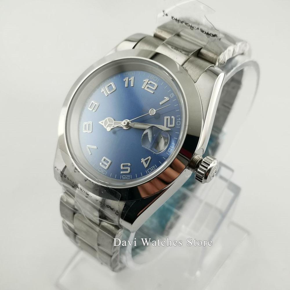 39mm Bliger/Sterile Men's Watch Blue Dial Luminous Sapphire Glass Mingzhu2813/MIYOTA8215 Automatic Movement Male Watch
