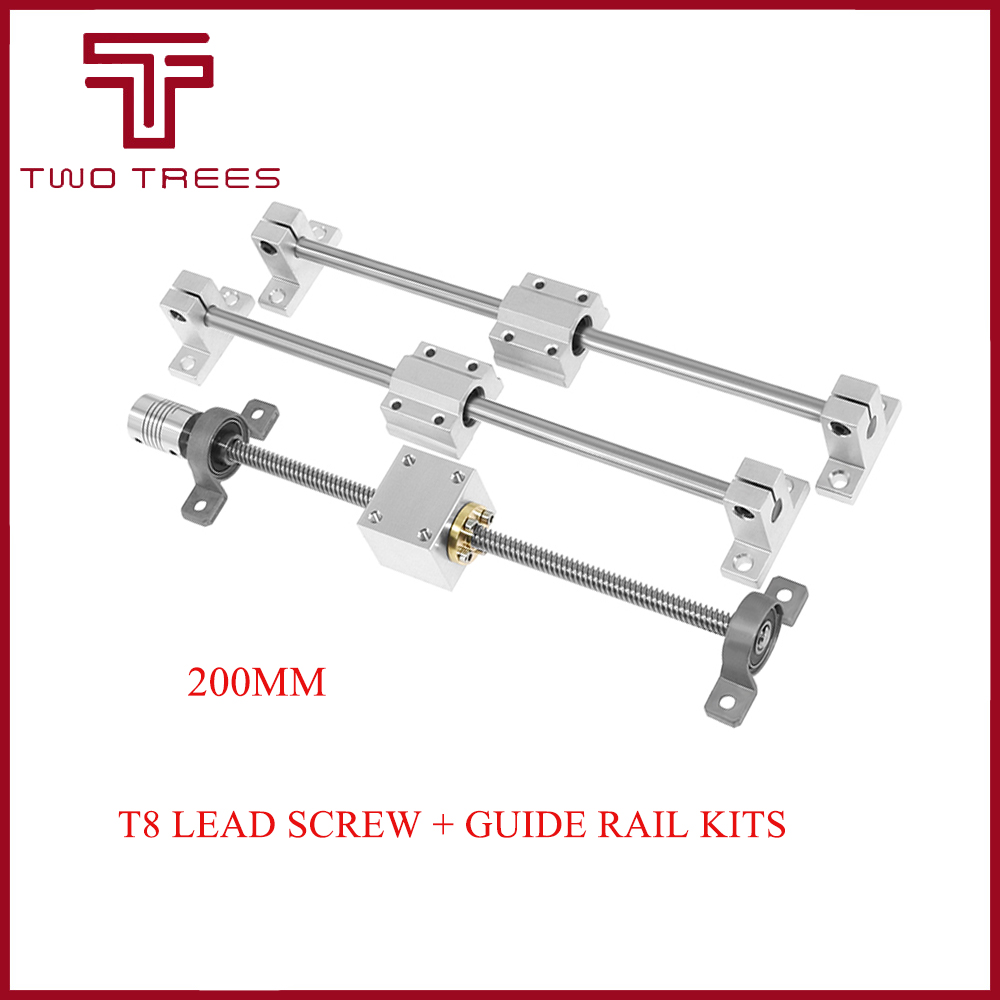 3D printer Guide rail parts -T8 Lead Screw 200mm 300mm 400mm 500mm  Optical axis  KP08 bearing bracket  housing mounting bracket