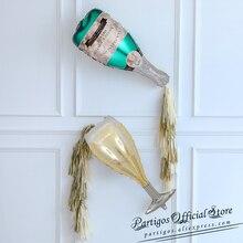 1 juego botella de champán de gran tamaño, copa de vino globo de lámina de aluminio dorado borla boda cumpleaños suministros de decoración para fiesta regalos