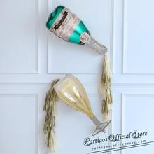 1 takım büyük boy şampanya şarap şişesi bardak folyo balon altın folyo püskül düğün doğum günü partisi dekorasyon malzemeleri hediyeler