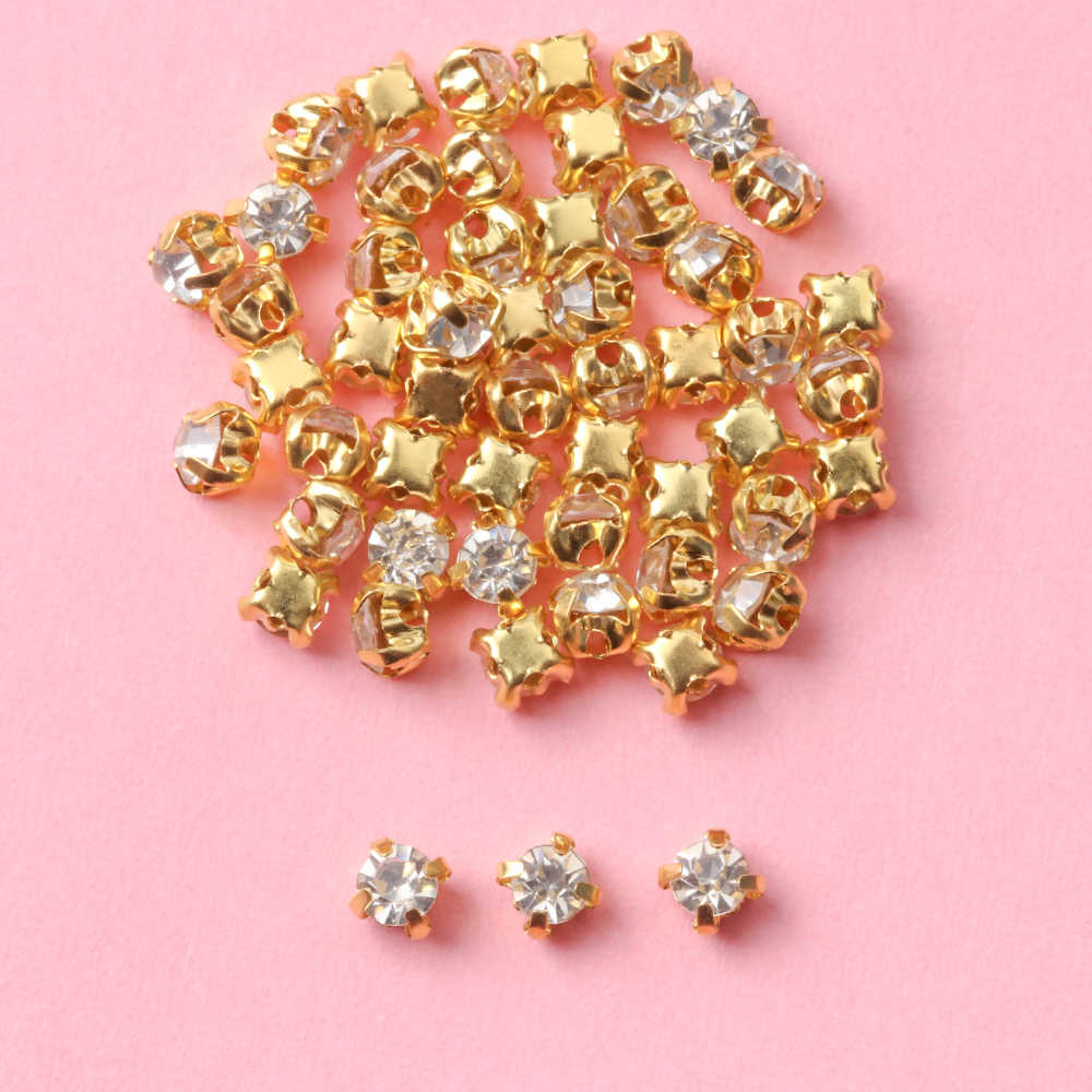 50pcs Mini Rhinestone Buckle DIY Doll Dress Clothes Patchwork Handmade Doll Bags Shoes Necklace Buttons Craft Sewing Accessories