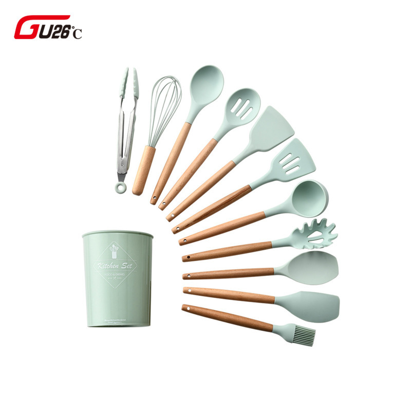 6/9/10/12PCS Silicone Utensils Set Non-stick Spatula Shovel Wooden Handle Cooking Tools With Storage Box Kitchen