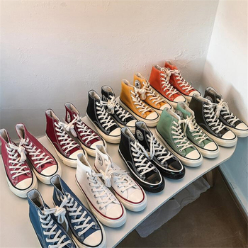 2021 Spring Autumn High Top Flats High Quality Classic Women Canvas Shoes Female Athletic Sneakers Women Vulcanized Casual Shoes