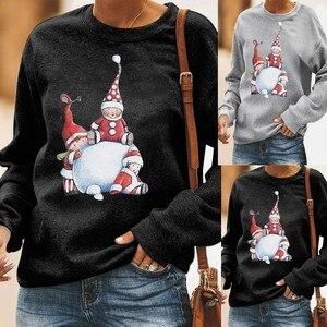 Moda damska Casual Loose O-neck z nadrukiem świątecznym z długim rękawem topy T-shirt damskie stroje świąteczne moda O Collar