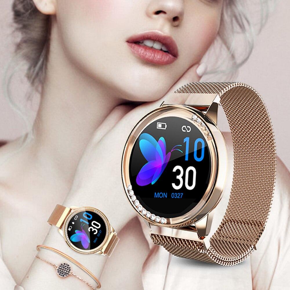 US $34.99 30% СКИДКА|Femperna Смарт часы для женщин водонепроницаемый монитор сердечного ритма кровяного давления умные часы для женщин дамы Рождественский подарок браслет|Смарт-часы| |  - AliExpress