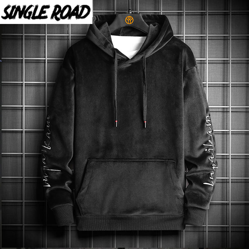 SingleRoad Mens Hoodies Men 2020 Winter Velvet Sweatshirt Japanese Streetwear Harajuku Oversized Black Hoodie Men Sweatshirts