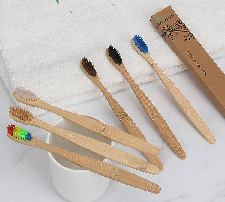 1000 Pieces Brown Curved Style bamboo toothbrush soft-bristle bamboo Black fibre wooden handle Black toothbrush image