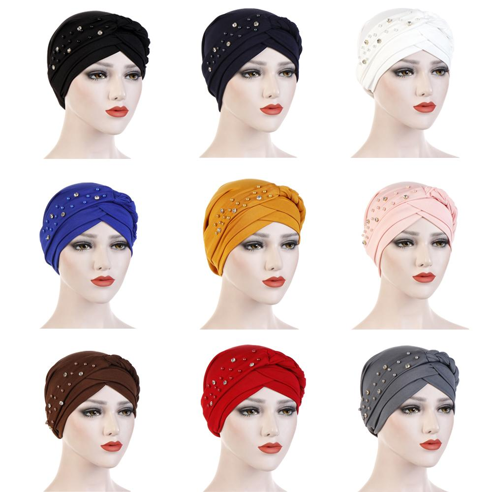 Women Muslim Indian Turban Chemo Cap Hat Beads Braid Head Wrap Headscarf Hair Loss Hat Arab Bonnet Islamic Beanie Skullies
