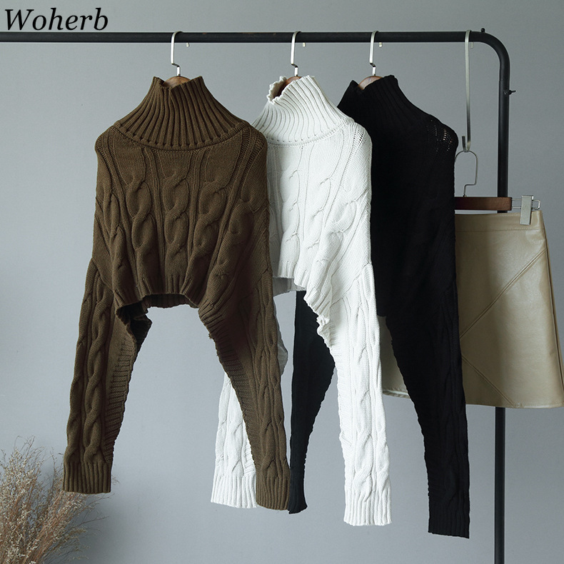Woherb Casual Knitted Sweater Women Fall Winter Turtleneck Cloak Cape Crop Sweaters Top Womens Office Pullover Jumper Poncho