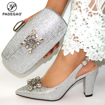 2020 Silver Color New Coming Cofortable Shoes And Bag To Match Set Italian High Heels Party Shoes And Bag Set For Wedding