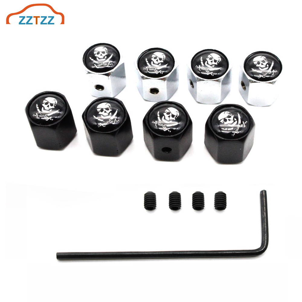5 Pcs/Set Zinc Alloy Anti-theft The Skull Of Pirate Logo Tire Valve Stem Cap Tire Wheel Stem Air Valve Caps For Auto Cars