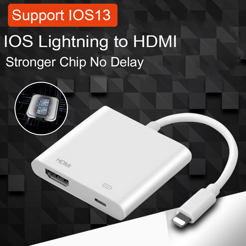 HDMI Adapter For Iphone Ios 13 Lightning to HDMI Cable 4K Digital TV Converter For IPad For IPhone 11 X 6 7 8 HDMI Conector|Phone Adapters & Converters| |  - title=