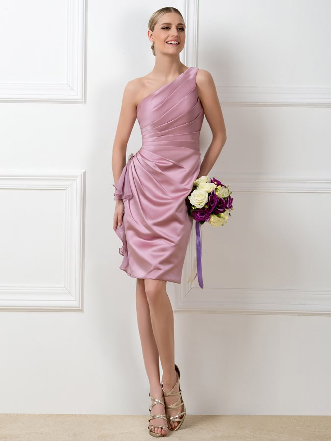 Bridesmaid     Dresses   2019 Cheap Pleats One-Shoulder Sheath Short   Bridesmaid     Dress   Party Gowns Vestidos De Festa