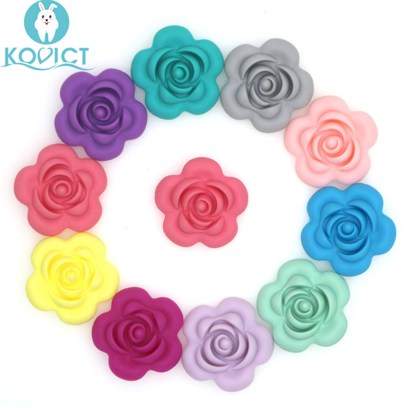 Kovict 10Pcs Silicone Rose Beads BPA Free Baby Teething Beads Flower Shape Baby Teethers For Baby Teething Necklace Making
