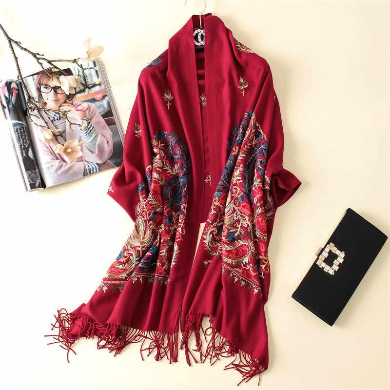 2019 di marca di lusso del cachemire delle donne inverno caldo sciarpa del ricamo scialli e impacchi di lana pashmina lungo femminile foulard addensare coperta
