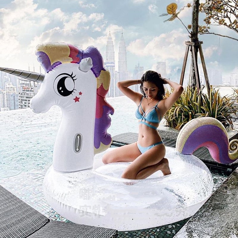 Giant Colorful Glitter Unicorn Pool Float Sequins Inflatable Rainbow Pegasus Swimming Ring Sunbathing Lounger Water Toys Adult