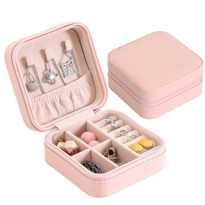 Portable Jewelry Box Storage Organizer Earring Holder Zipper Women Jewelry Display Travel Case
