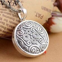 V.YA collar de plata de ley 925 con colgante con medallón para fotografía, cadena para regalos, joyería creativa