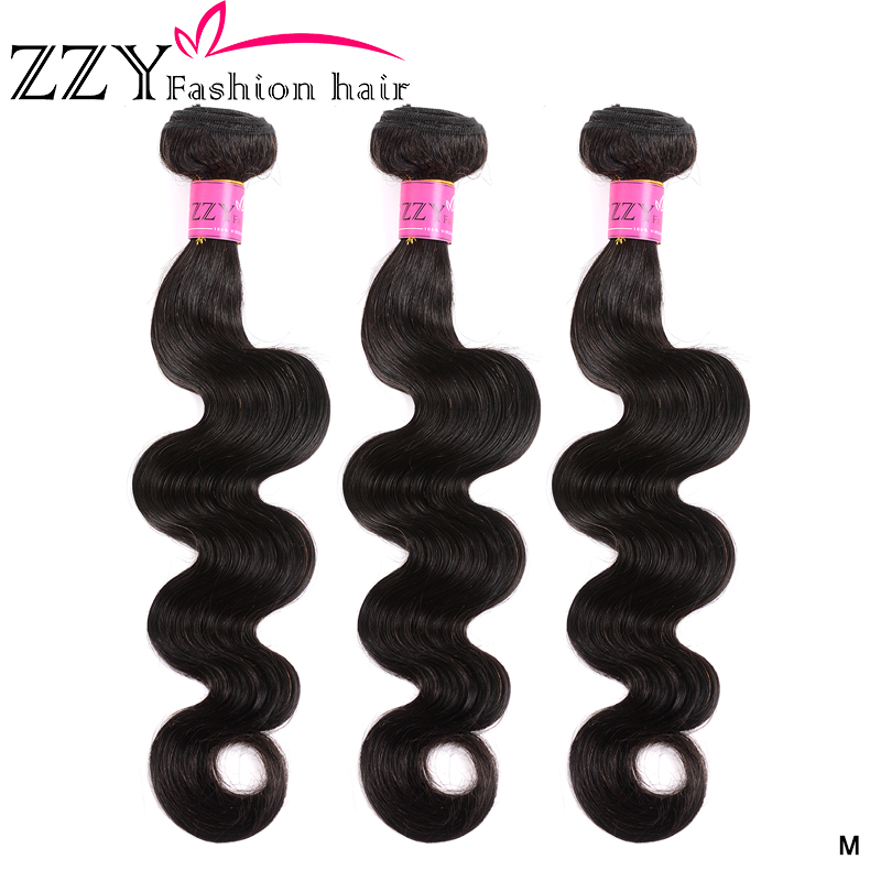 ZZY Fashion Hair Brazilian Body Wave Hair Bundles Non-remy 8-26 Inch Human Hair Weave Extensions 3 Bundles Natural Color Hair