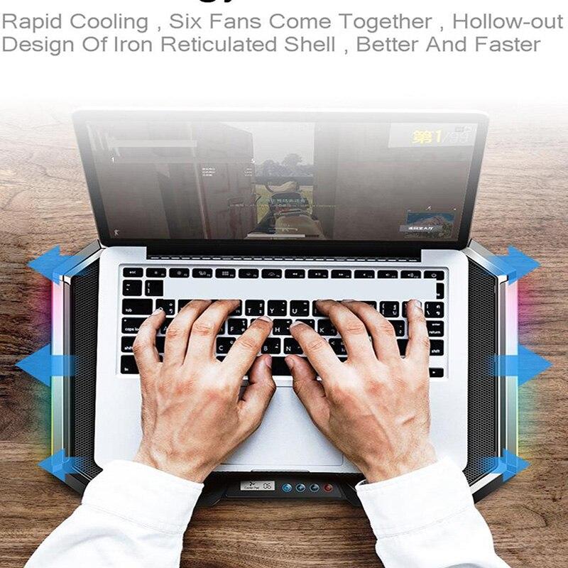 Image 5 - SeenDa Q8 Notebook Cooler Pad 6 Fans 7 Levels Adjustable Laptop  Stand  Liquid Crystal Screen 2 USB Ports CoolerLaptop Cooling Pads   -