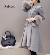 2019 new winter Korean version of the thin fox fur long woolen coat female wool woolen coat 2017 pregnant women winter women korean version of the coat long woolen jacket
