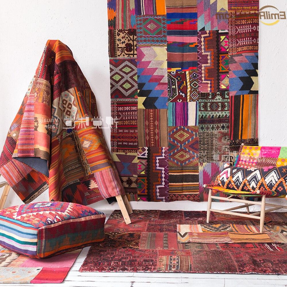 Point kilim Rose tapis tissé pour salon motif géométrique Navajo Tribal laine tapis tapis