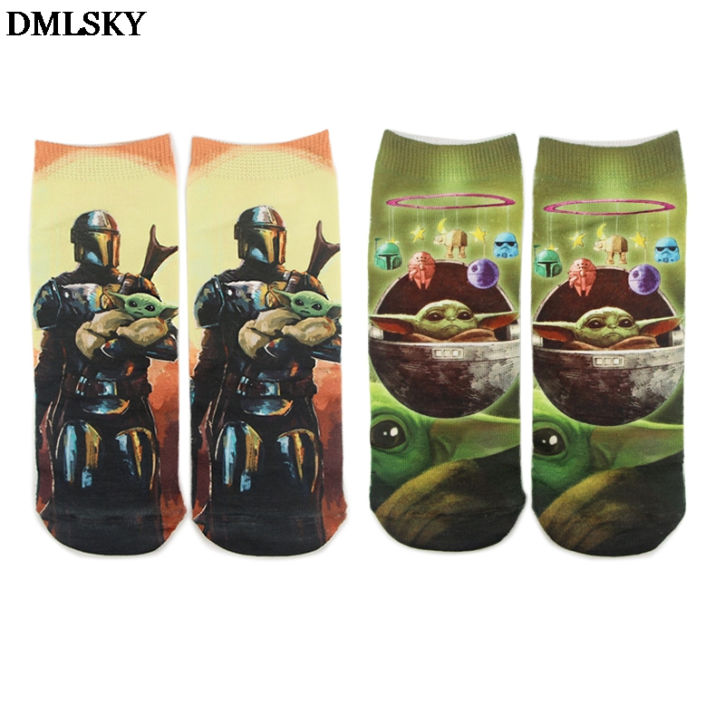 DMLSKY Baby Yoda The Mandalorian Cute Socks Women Men Fashion 3D Printed Cotton Socks Movie Socks Novelty Socks M4327