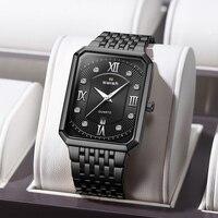 SAUSEN Luxus männer Rechteck Uhren Top Marke Schwarz Business Armbanduhr Wasserdicht Military Quarzuhr 2020 Relogio Masculino