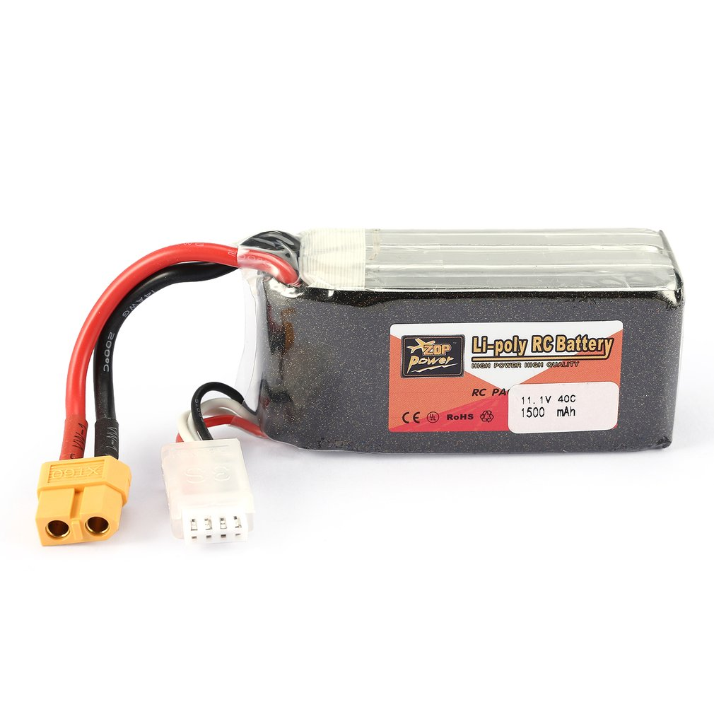 ZOP Power 11.1V 1500mAh 40C 3S 3S1P Lipo Battery XT60 Plug Rechargeable For RC Racing Drone Helicopter Car Boat Model image