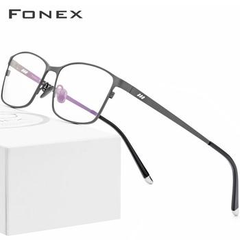 FONEX Pure Titanium Glasses Frame Men Square Eyewear Male Classic Full Optical Prescription Eyeglasses Frames Gafas Oculos 8505
