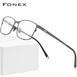 Pure Titanium Glasses Frame Men Square Eyewear 2019 Male Classic Full Optical Prescription Eyeglasses Frames Gafas Oculos 8505