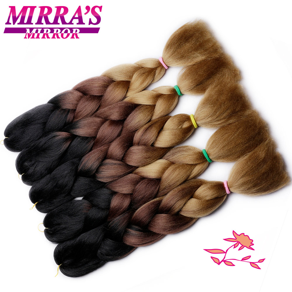 Mirra's Mirror 24inches Crochet Braids Synthetic Hair Ombre Braiding Hair Extensions Jumbo Braid Hair Three Tone Black Brown