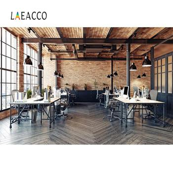 Laeacco Old Style Office Room Brick Wall Wooden Floor Interior Photography Background Photo Backdrop For Photo Studio Photocall laeacco happy easter day flags chick haystack brick wall home decor scene photography backdrop photo background for photo studio