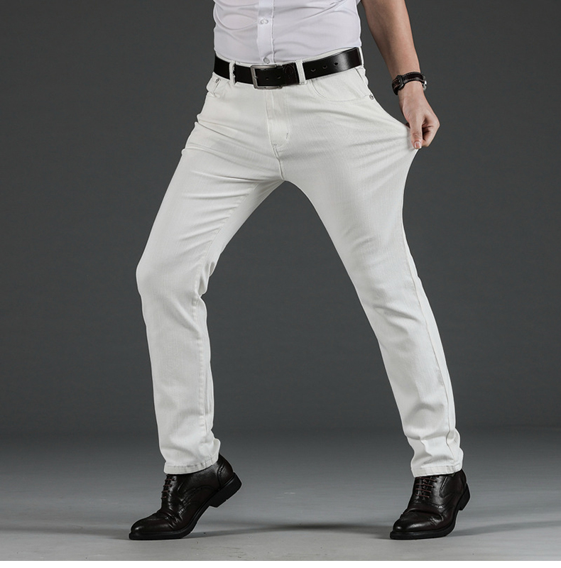 KSTUN Mens White Jeans Straight Stretch Regular Fit Business Casual Denim Pants Male Long Trousers Fashion Jeans Large Size 40 13