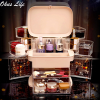 Transparent Plastic Home Drawer Desk Desktop Jewelry Storage Box Cosmetic Organiser Clear Acrylic Makeup Organizer with Cover