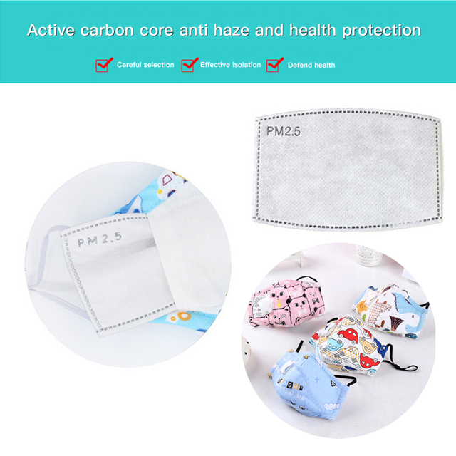 Children PM2. 5 masks  Respirator Mask With Breathing Valve Washable Cotton Activated Carbon Filter  Masks Anti Dust Allergy 2