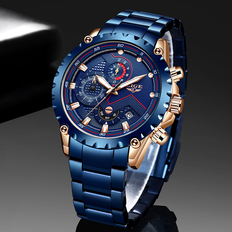 LIGE 2020 Creative Design Watches Men Luxury Quartz Wristwatch With Stainless Steel Chronograph Sport Watch Male Clock Relojes
