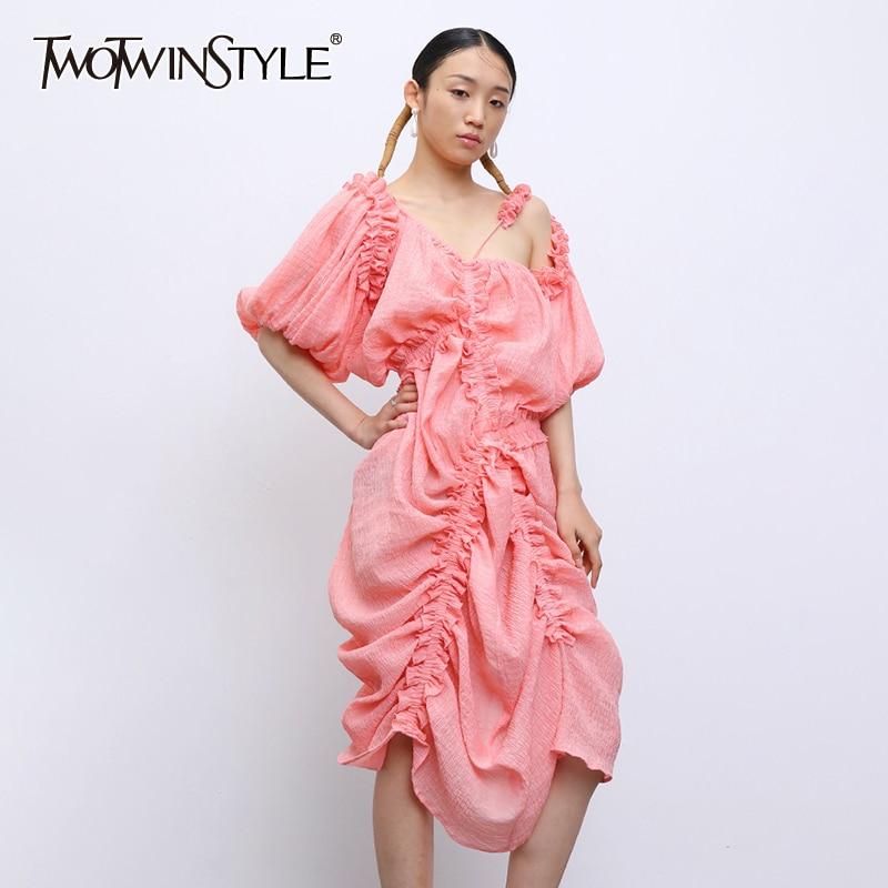 TWOTWINSTYLE Casual Irregular Dress Women Asymmetrical Collar Lantern Half Sleeve High Waist Ruched Drawstring Dresses Female
