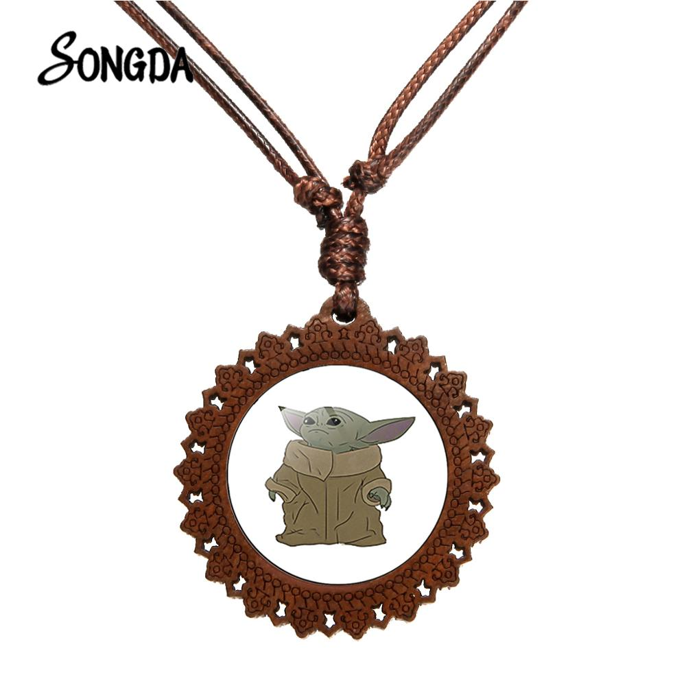 SONGDA Lovely Cartoon Baby Yoda Wooden Necklace The Mandalorian Anime Figure Pattern Glass Round Pendant <font><b>Fans</b></font> Collected <font><b>Jewelry</b></font> image