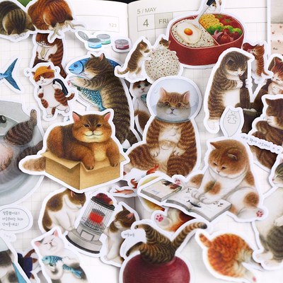 18 PCS New Love Decorative Animal Cat Paper Lable Stickers Crafts And Scrapbooking Decorative Sticker DIY Lovely Stationery