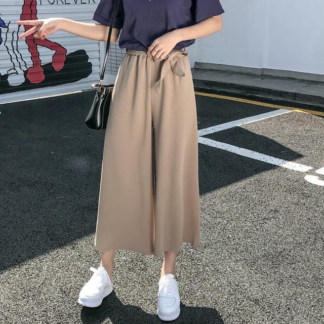 Женские свободные брюки палаццо, Элегантные повседневные брюки в стиле преппи с широкими штанинами, однотонные брюки, 2020