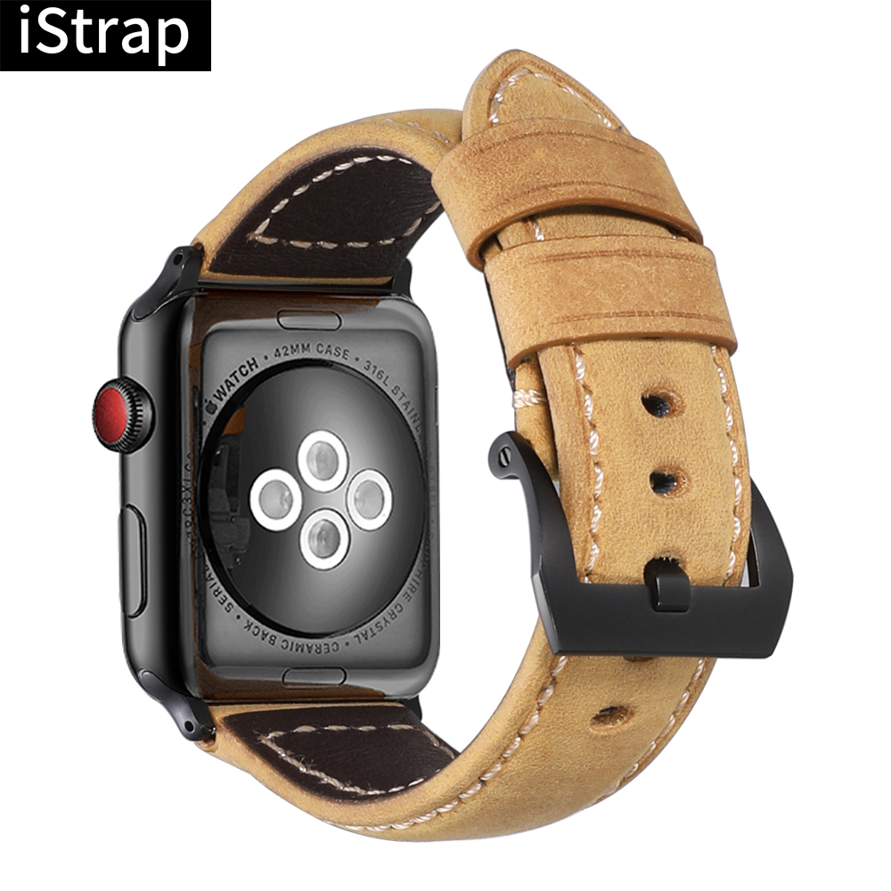 iStrap <font><b>Watch</b></font> <font><b>Strap</b></font> Silver Black Watchbands Handmade Assolutamente Genuine Leather Bracelet for Iwatch 38mm 40mm 42mm 44mm image