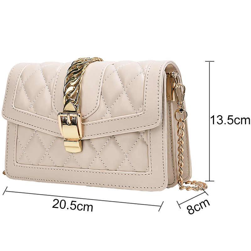 Модная женская кожаная сумка, стеганая сумка через плечо, дамская сумочка с замком и цепочкой, сумки через плечо, Маленькая женская роскошная дизайнерская сумка