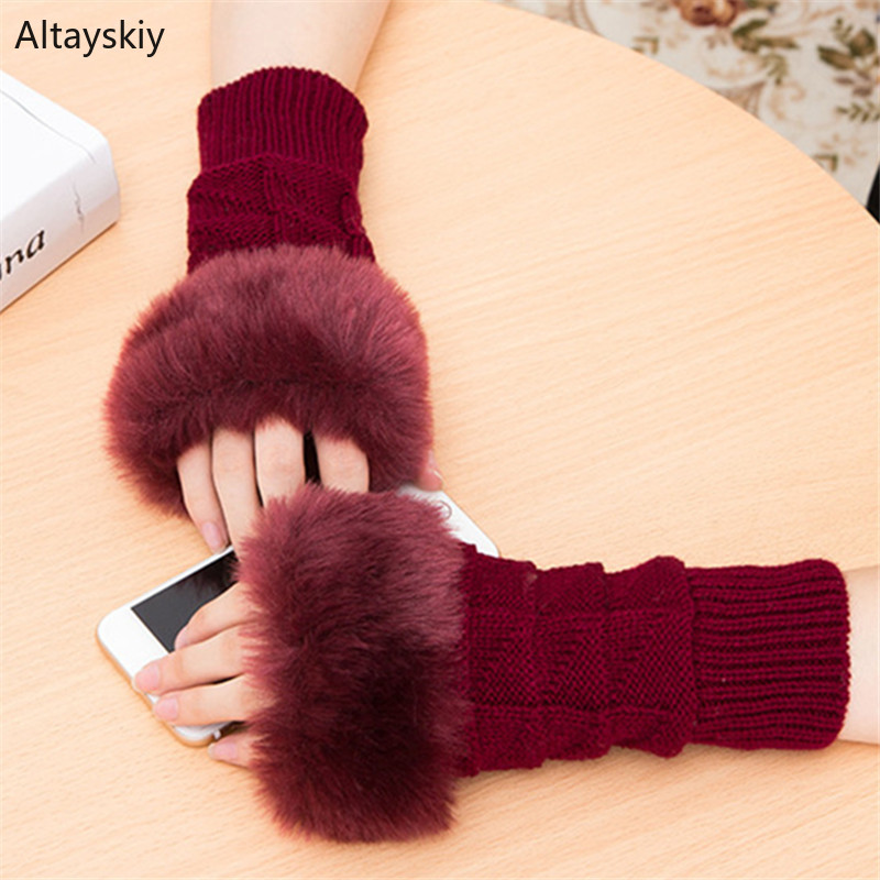 Arm Warmers Women New Solid Patchwork Faux Fur Plaid Knitted Winter Warm Womens Arms Warmer Elegant Kawaii All-match Trendy Chic