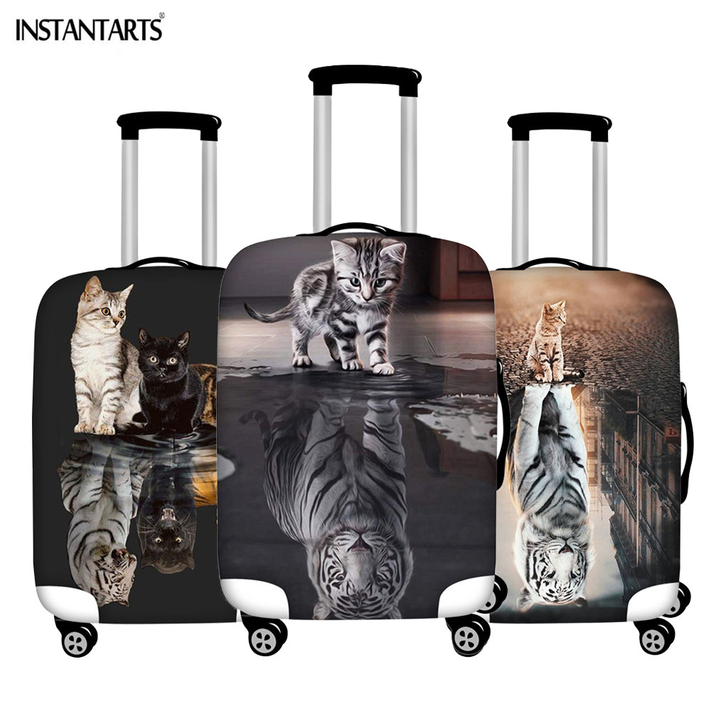 INSTANTARTS Cat Reflection Tiger Suitcase Protective Covers Waterproof Dust Rain Unisex Luggage Case Cover Apply To 18-30 Inch